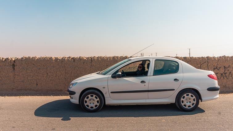 Renting a car in Iran. Car rental Iran. Traffic in Iran. our Peugeot 206