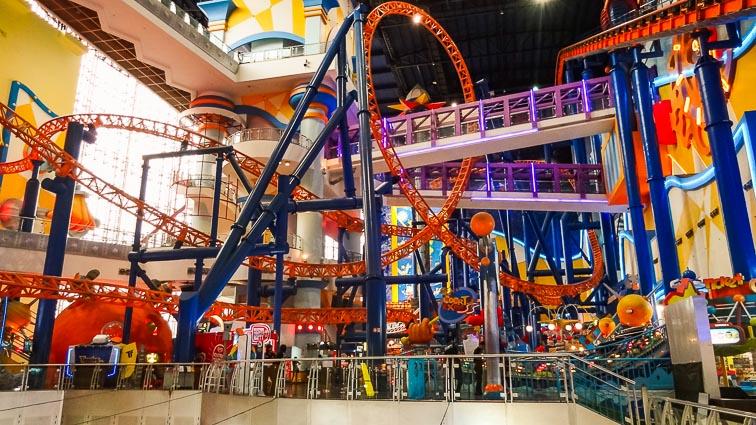 Berjaya Times Square Shopping Mall Theme Park, Kuala Lumpur. Roller Coaster inside a shopping mall.