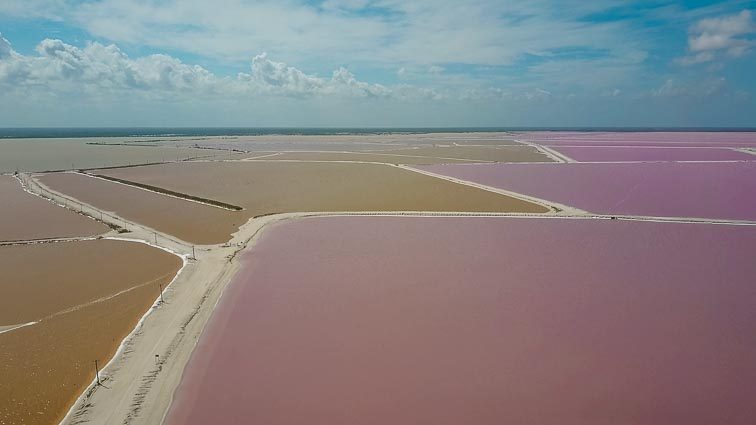 Pink lakes drone photo, Las Coloradas, Mexico