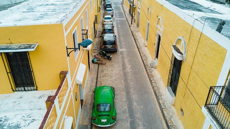 Izamal, Mexico. Yellow village, green beetle