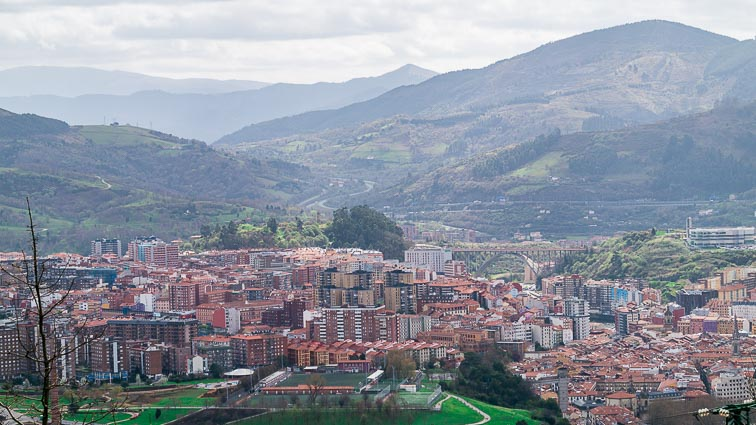 Bilbao lies in the hills