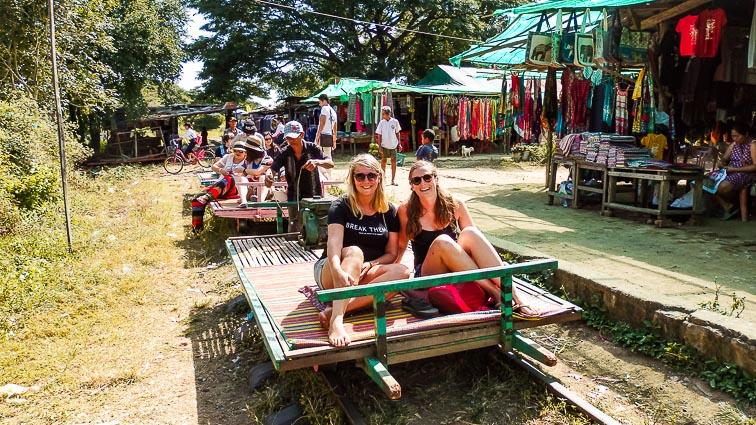 Me in a train cart in Battambang