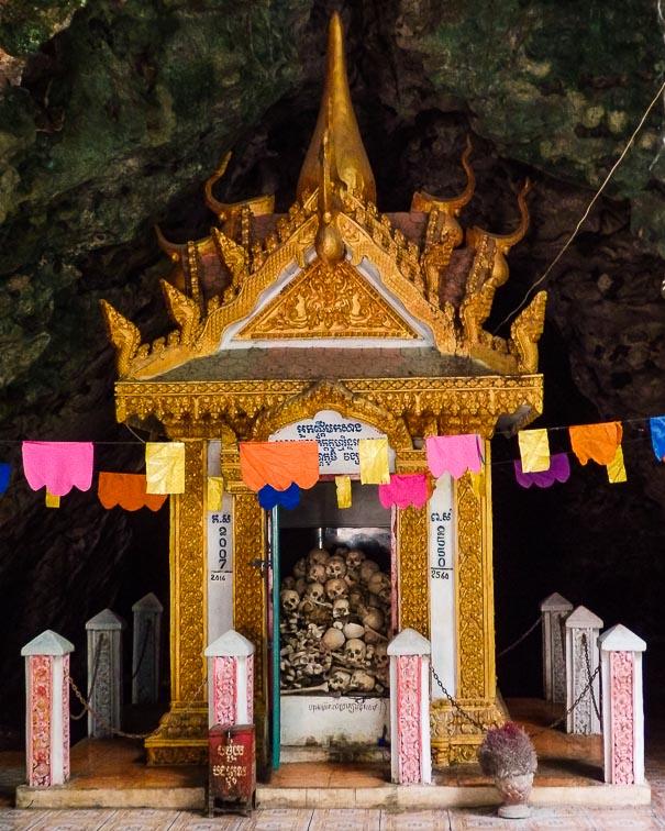 Skulls in a small shrine