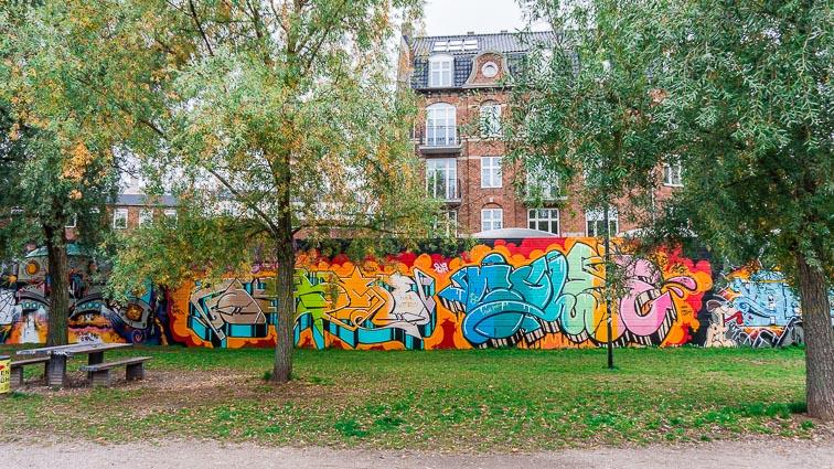 Street art in a small park in Nørrebro