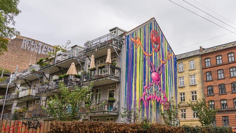Huge street art on a apartment complex at the Bangertskade, Copenhagen