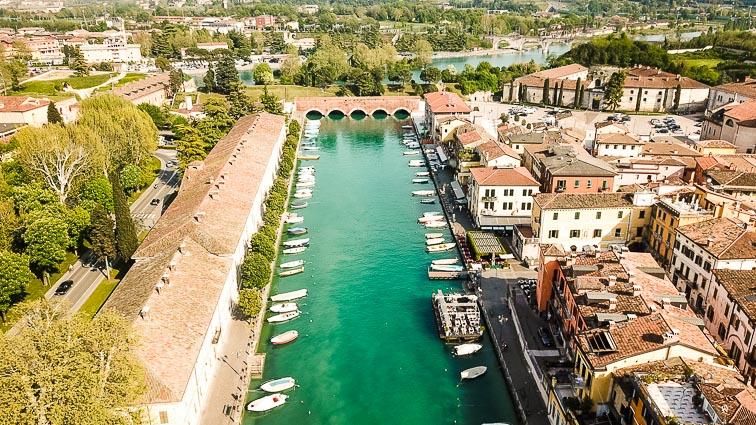 Pecheira's canal from the sky. Things to do around Lake Garda
