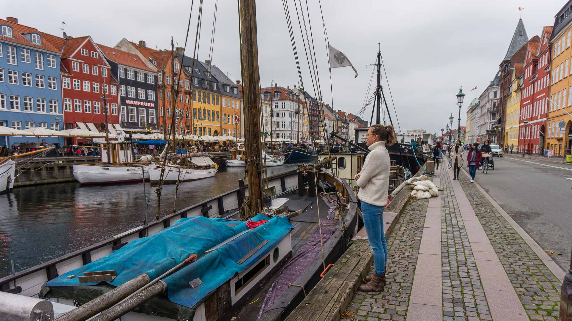 Kirsten standing on the docks in Nyhavn