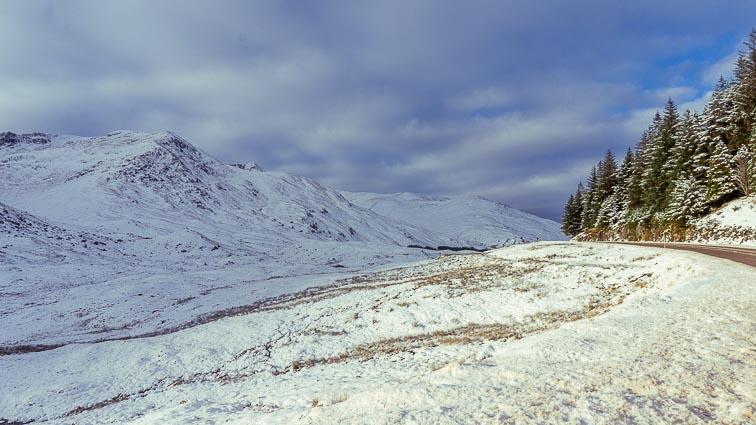 Snowy fields in Scotland