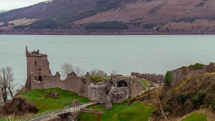 Castle along Loch Ness on our Scotland road trip
